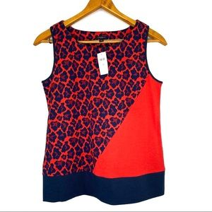 Ann Taylor NWT Red and Blue Sleeveless Top